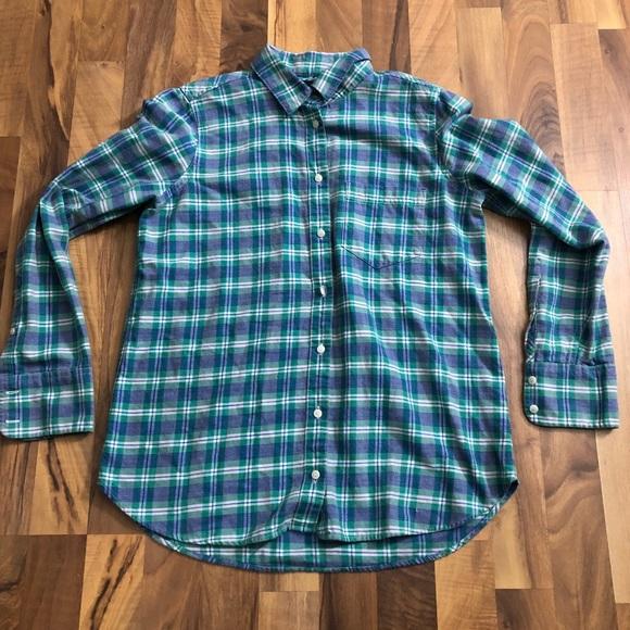 J. Crew Tops - J Crew Size 4 Boy Blue Plaid Buttonup Shirt